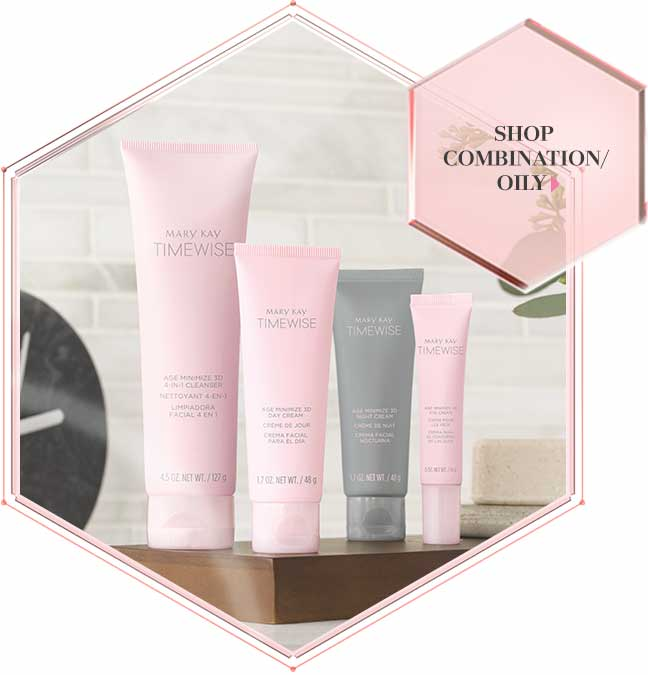 Four products are shown in pink and grey tubes, making up Mary Kay's new TimeWise Miracle Set 3D skin care regimen for combination to oily skin.