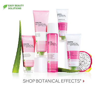 The Botanical Effects skin care regimen from Mary Kay, which includes the Invigorating Scrub, Cleansing Gel, Refreshing Toner, Moisturizing Lotion SPF 30 Sunscreen and Moisturizing Gel, is shown next to dragonfruit and other key ingredients.