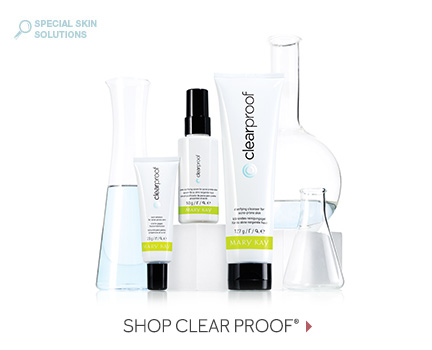Mary Kay's Clear Proof skin care regimen is shown, including the Clarifying Cleanser, the Pore-Purifying Serum and the Spot Solution.